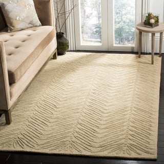 Martha Stewart Chevron Leaves Oolong Tea Gree Wool/ Viscose Rug (9' x 12')