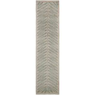 Martha Stewart Chevron Leaves Blue Fir Wool/ Viscose Rug (2' 3 x 10')