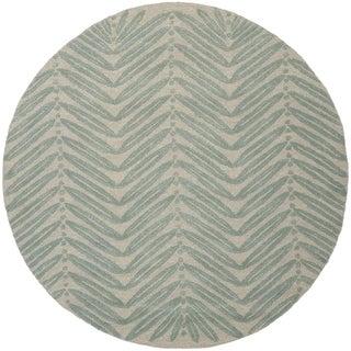 Martha Stewart Chevron Leaves Blue Fir Wool/ Viscose Rug (6' Round)