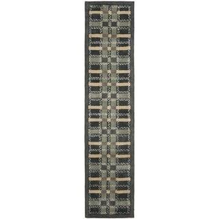 Martha Stewart Colorweave Plaid Wrought Iron Navy Wool/ Viscose Rug (2' 3 x 10')