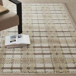 Martha Stewart Colorweave Plaid Sharkey Grey Wool/ Viscose Rug (8' x 10')