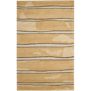 Martha Stewart Chalk Stripe Toffee Gold Wool/ Viscose Rug (9' x 12')