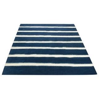 Martha Stewart Chalk Stripe Wrought Iron Navy Wool/ Viscose Rug (9' x 12')