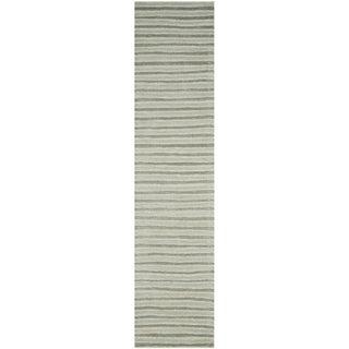 Martha Stewart Hand Drawn Stripe Nimbus Cloud Grey Wool/ Viscose Rug (2' 3 x 10')