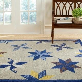 Martha Stewart Lemoyne Star Azurite Blue Wool Rug (8' x 10')