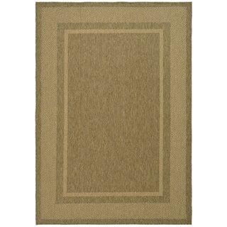 Martha Stewart Color Frame Coffee/ Sand Indoor/ Outdoor Rug (5' 3 x 7' 7)