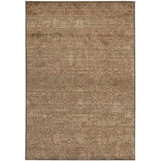 Martha Stewart Heritage Bloom Soft Anthracite/ Camel Viscose Rug (8' x 11' 2)