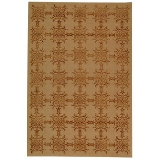 Martha Stewart Tracery Rose/ Wood Silk/ Wool Rug (5' 6 x 8' 6)