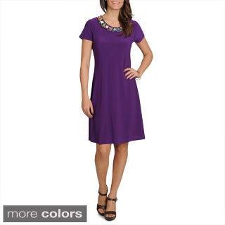 Lennie for Nina Leonard Women's Pebbled Necklace Dress
