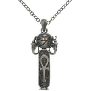 CGC Pewter Rhinestone Egyptian Ankh Necklace