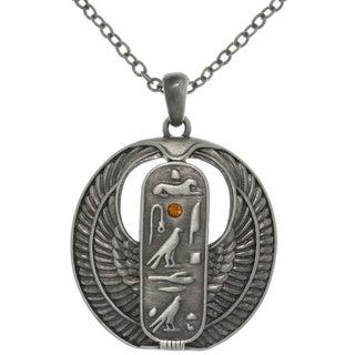 CGC Pewter Rhinestone Egyptian Cartouche Necklace