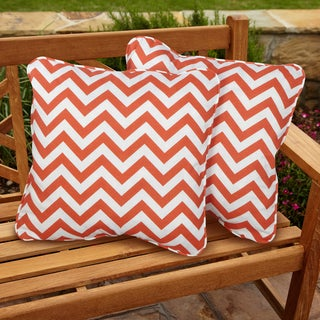 Chevron Orange Square Corded Indoor/ Outdoor Accent Pillows (Set of 2)
