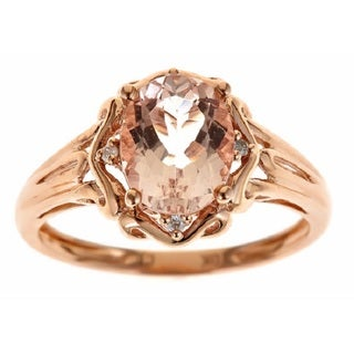 Anika and August D'yach 10k Rose Gold Morganite and Diamond Accent Ring