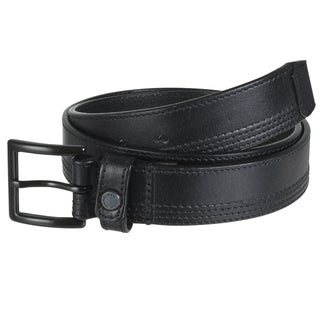 Marc New York Men's Black Stitched Genuine Leather Belt