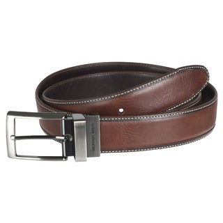 Geoffrey Beene Men's Brown Reversible Topstitched Leather Belt