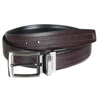 Geoffrey Beene Men's Reversible Topstitched Leather Belt