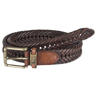 Nautica Men's Brown Woven Leather Belt