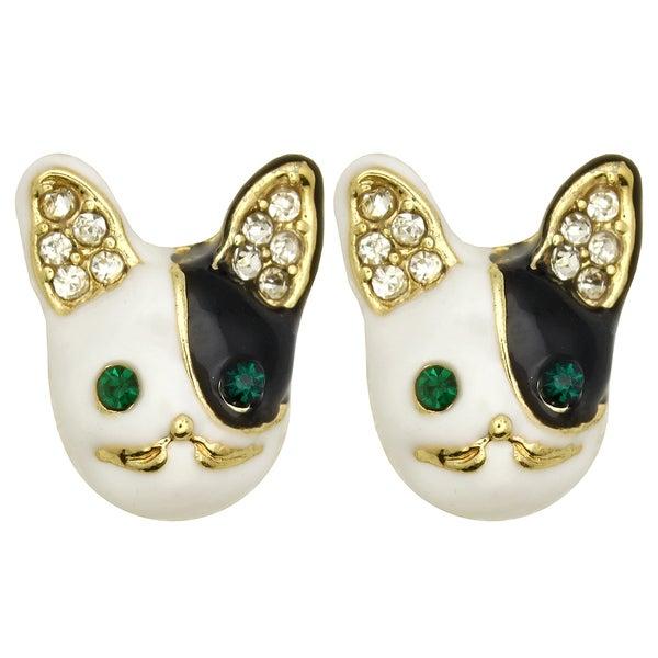 Kate Marie Goldtone Rhinestone Doggie Design Earrings