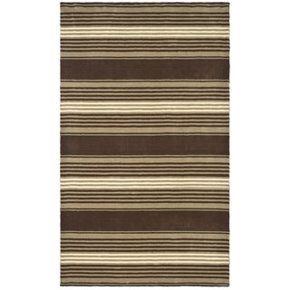 Martha Stewart Harmony Stripe Tobacco Leaf Wool Rug (9' x 12')