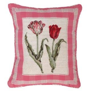 Tulip and Pink Plaid Petit-point Decorative Pillow