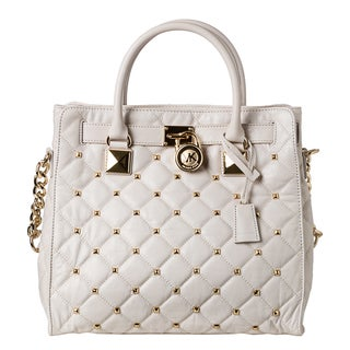 MICHAEL Michael Kors Large 'Hamilton' Vanilla Quilted Leather Studded Tote