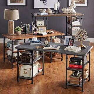 TRIBECCA HOME Myra Vintage Industrial Modern Rustic Oak Storage Desk