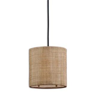 Uttermost Dafina 1-light Burlap Weave Mini Drum Pendant