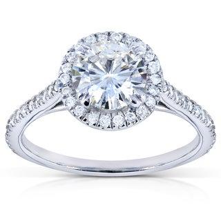 Annello 14k White Gold Moissanite and 1/4ct TDW Round Diamond Engagement Ring (G-H, I1-I2)