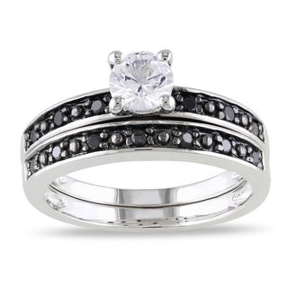 Miadora Silver White Sapphire and 1/5ct TDW Black Diamond Ring Set