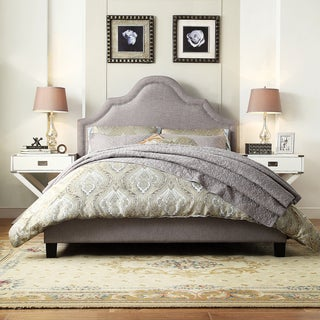 INSPIRE Q Fletcher Grey Linen Nailhead Arch Curved Upholstered King-sized Platform Bed