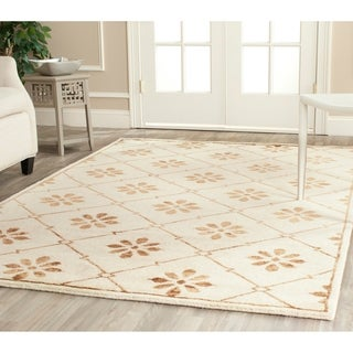 Safavieh Hand-knotted Mosaic Cream/ Light Brown Wool/ Viscose Rug (9' x 12')