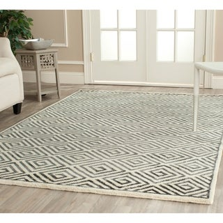 Safavieh Hand-knotted Mosaic Ivory/ Grey Wool/ Viscose Rug (9' x 12')