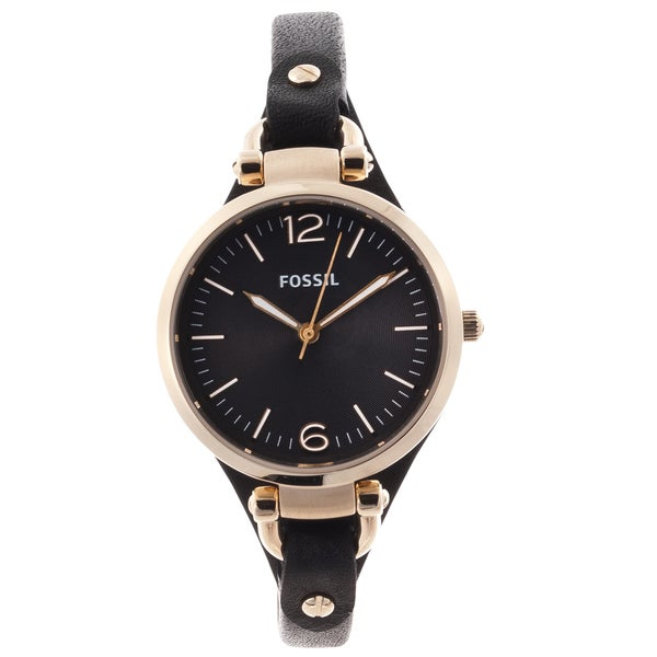 fossil s black and goldtone leather