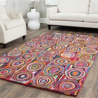 Safavieh Handmade Nantucket Pink/ Multi Cotton Rug (8' x 10')