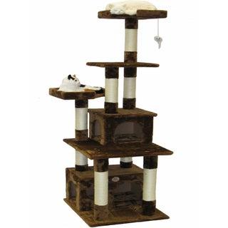 Go Pet Club Brown Cat Tree House Scratcher 67-inch Condo