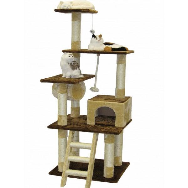 Go Pet Club Beige/ Brown 67-inch Cat Tree Condo
