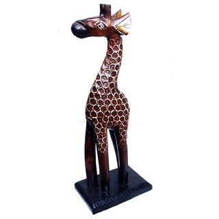 Hand-carved 8-Inch Wooden Giraffe Statue (Indonesia)