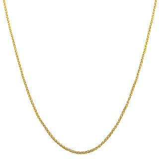 Fremada 10k Yellow Gold 1-mm Round Adjustable Wheat Chain