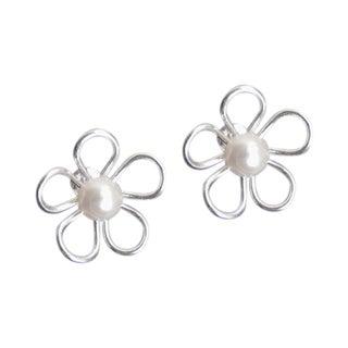 Mystic Flower Freshwater Pearl Center .925 Silver Earrings (Thailand)