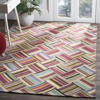Safavieh Hand-woven Straw Patch Pink/ Multi Wool Rug (9' x 12')