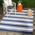 Thom Filicia Hand-woven Indoor/ Outdoor Navy Rug (5' x 8')