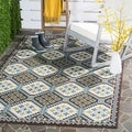 Safavieh Veranda Piled Indoor/ Outdoor Blue/ Chocolate Rug (8' x 11'2)