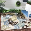 Safavieh Veranda Piled Indoor/ Outdoor Cream/ Aqua Rug (5'3 x 7'7)
