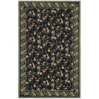 Safavieh Hand-hooked Wilton Black/ Green New Zealand Wool Rug (8'6 x 11'6)