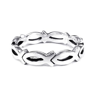 Christian Fish Eternity Link .925 Silver Ring (Thailand)