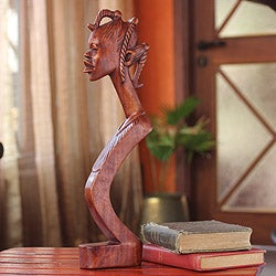 Handcrafted Sese Wood 'Beautiful Lady' Sculpture(Ghana)
