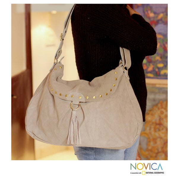 Leather 'India Boho Grey Chic' Shoulder Bag (India)