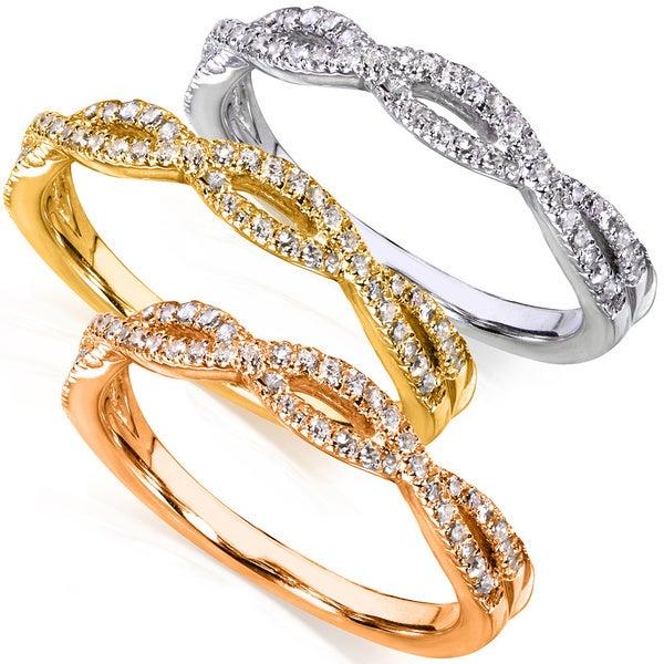 Annello 14k Gold 1/6 ct TDW Braided Diamond Band (H-I, I1-I2)