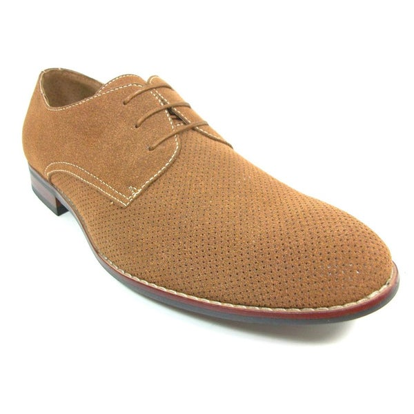 Delli Aldo Men's Vegan Suede Perforated Oxford Shoes