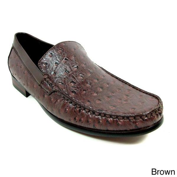 Ferro Aldo Men's Ostrich Textured Dress Loafers